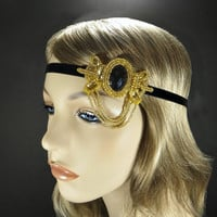 Gold Gatsby Headband, 1920s Hair Accessories Flapper Headpiece, Diasy Buchanan Wedding, Costume Party, Black Ribbon Headband