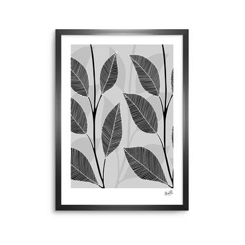 "julia grifol ""Black Leaves"" Gray Black Floral Pattern Vector Digital Framed Art Print"