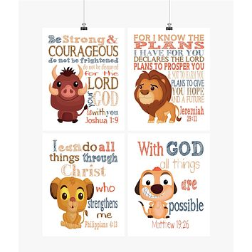 Lion King Christian Nursery Decor Set of 4 Prints, Mufasa, Pumba, Simba and Timon with Bible Verses