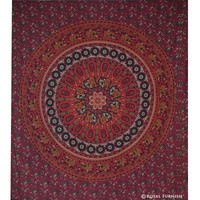 Red Mandala Hippie College Medallion Indian Tapestry Wall Hanging Bedspread - RoyalFurnish.com