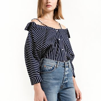 Navy Strappy Off the Shoulder Shirt
