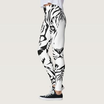 White Tiger Print Leggings