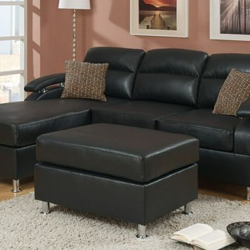 3 pc Sheila II modern style reversible ebony bonded leather upholstered sectional sofa with chaise and ottoman