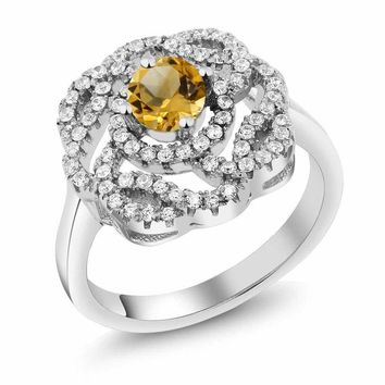 1.48 Ct Round Yellow Citrine 925 Sterling Silver Flower Shape Ring