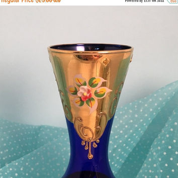 Vintage Cobalt Blue Glass Vase, Antique Cobalt Blue Glass, Hand Painted, Gold Flower Vase, Blue Wedding Table Decor