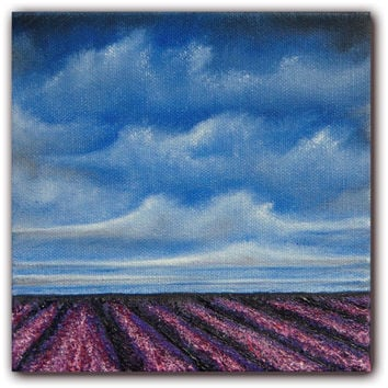Lavender Fields Oil Painting, Contemporary Art Lavender Field, Original Art Landscape Painting, Purple Art Field Painting, 6 x 6 x 1.5