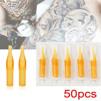50pcs Disposable Professional Tattoo Needles Tips For Tattoo Pen Machine Mixed Size Transparent Flat Round Tattoo Tips