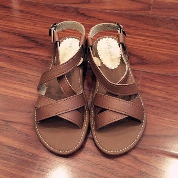 Camel Leather Flat Beach Slippers Sandals