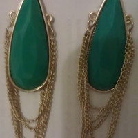 Dangle Tear Drop Shaped Green Stone by allthingswildandfree