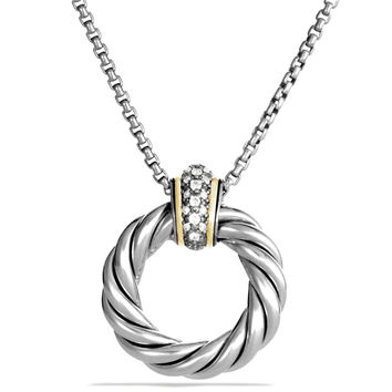 Cable Classics Small Pendant with Diamonds and Gold on Chain - David Yurman