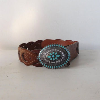 Cowgirl Belt Turquoise Buckle Wide Brown Belt Hippie Accessory Bohemian Southwest Rodeo Bling Faux Leather Vintage Braided Rhinestones