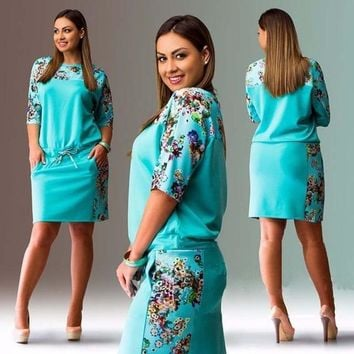 Fashionable Elegant Floral Printed Dresses Casual O-neck Plus Large Size Dress
