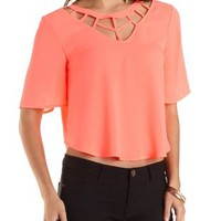 Caged Neon Chiffon Top by Charlotte Russe