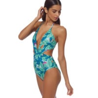 Summer female sexy swimwear One Piece flower Printed bikini swimsuit-0609