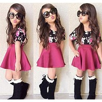 New Arrival baby girls dress Flower kids girl clothes Cotton children Clothing Set Kids T-Shirt+dress