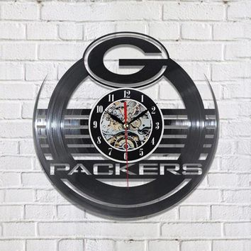 Antique Hollow Style Round CD Record Clock NFL GREEN BAY PACKERS Vinyl LED Wall Clock Creative Personalised Wall Clock