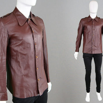 Vintage 60s 70s LORD JOHN Leather Jacket Carnaby Street Mens Leather Shirt 1960s Mod Jacket Round Collar 1970s Rare Clothes Swinging London