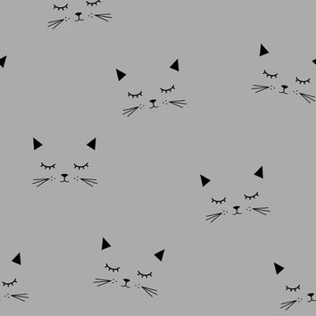 Cats Gray fabric - kimsa - Spoonflower