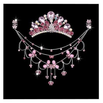 Princess Dress up Accessories Jewelry Set Birthday Party Favor [Butterfly+Pink]