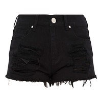Elana Black Ripped Denim Hotpants
