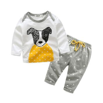 Kids Clothes Baby Boys Clothing Set Toddler Girls Cute Little Fox Cartoon Dog Boutique Children Costume 2017 Fashion Outfits