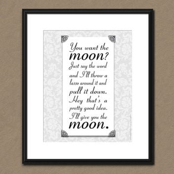 LASSO THE MOON Art Print It's a Wonderful Life Quote Upcycled Home Decor Jimmy Stewart Christmas Party Decoration Wall Decor Holiday Art