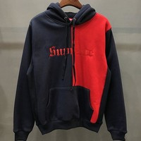 Supreme Cardigan Jacket Coat Contrast Hoodie Red