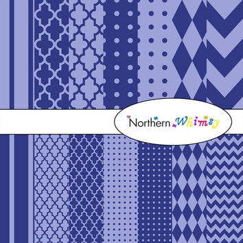 Digital Scrapbooking Set – Indigo and Denim Blue paper in stripes, chevron, polka dot, stripe, harlequin, and quatrefoil  INSTANT DOWNLOAD