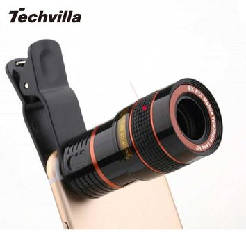 Universal 8X Zoom Telescope Lens Magnifier Clip for Smartphone