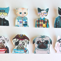 Super Cute Cat and Dog Printed Acrylic Brooch Pin. Brooch for Animal Lover, Cat Lover, and Dog Lover.