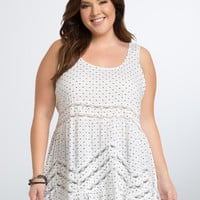Heart Print Ruffle Tank Top