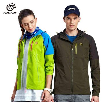 Tectop summer outdoor hiking camping softshell men and women fishing jacket water-resist thin hunting clothes