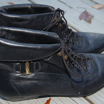 Vintage 80s 90s Poppies Grunge Black Leather Lace Up Granny Ankle Boots Booties Size 8.5 Medium