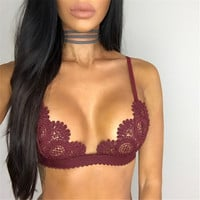 Sexy Lace Bralette Push Up Bras For Women Deep U Plunge Halter Bralett Dentelle Brassiere Quarter Cup Bras Women Underwear