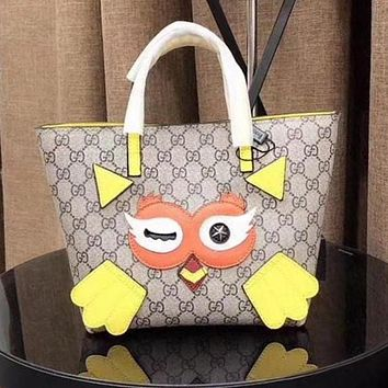 GUCCI Trending Women Stylish Shopping Leather Tote Satchel Cute Bird Pattern Shoulder Bag Handbag Yellow I-WXZ2H
