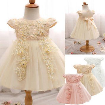 Baby Girls Infant Newborn Lace Princess Ball Gown Tutu Mini Dress Floral Sequins Bowknot Wedding Pageant Party Dresses Sundress
