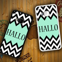 Mint Green Color-Block Chevron Art Hallo F0516 HTC One S X M7 M8 M9, Samsung Galaxy Note 2 3 4 S3 S4 S5 (Mini) S6 S6 Edge