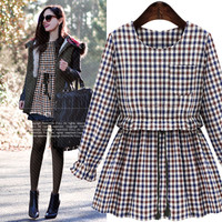 Checkered Long-Sleeve A-Line Dress With Pocket