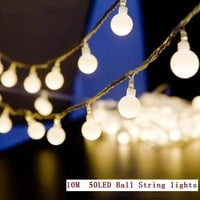 10M 50LEDs Mini Ball Global LED String Light EU 220V Warm white Twinkle Color Change Waterproof for Wedding Party Garden