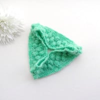 Crochet Headband - Headwrap - Ear Warmer - Mint Green Headband - Mohair Hairband