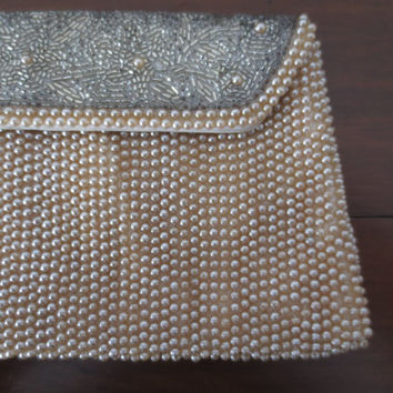 Vintage Ivory and Silver Beaded Clutch