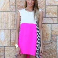 Pink & White Shift Dress with Chevron Side Panels