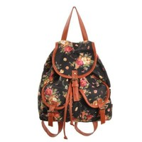 Generic New Ladies Girls Flower Floral Skull Backpack Rucksack Travel School College Bag