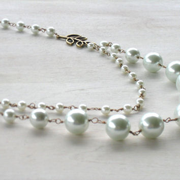 Kait: 1920s Inspired Opera Length Pearl and Bronze Necklace with Red Swarovski Crystals