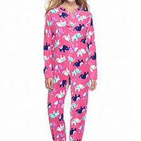 PJ Couture Pink Elephant Zip Front Footed One Piece Pajama - Bel