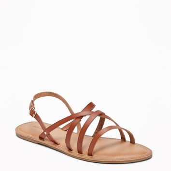 Strappy Faux-Leather Sandals for Women | Old Navy