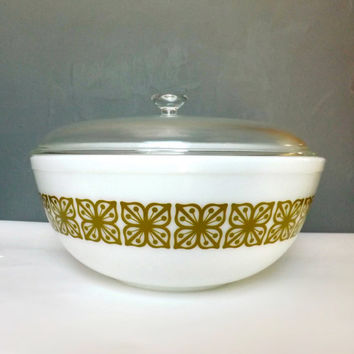 Vintage Big Pyrex Bowl Verde Square Flowers Green Mixing Bowl