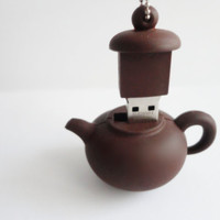 SALE 20-80%: Cute 16gb usb flash drive  A little mini Brown Tea Pot USB flash drive.