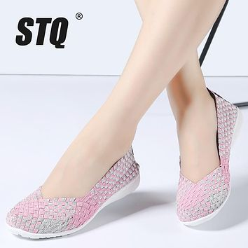 STQ 2017 spring women flats Shallow mouth loafers shoes female Sweet Candy breathable walking woven shoes ladies shoes 322