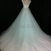 Sweetheart Neckline Cap Sleeves Fully Applique with Beaded Tulle Ball Wedding Dress/ Brides Gown Chapel Train